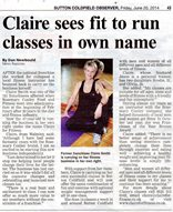 Sutton Coldfield Observer article June 20, 2014 - Claire for Fitness